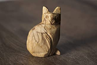 Enu Palo Santo Hand Carved Cat Totem - Made in Peru - Energetic Cleansing & Healing Properties - Burning Spirit Animal Incense - Sustainably Harvested & Artisan Crafted - Bursera Graveolens