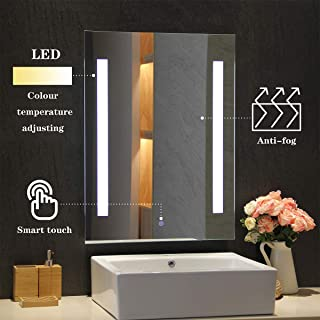 MIRPLUS Bathroom Vanity Mirror, Wall Mounted LED Backlit 24 x 32 Inch, Makeup Mirror with Touch Sensor for Warm White 3000K to Cool White 6000K Adjustable Color, Waterproof and Anti-Fog