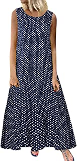 Xmiral Abiti Casual Senza Maniche Boho Beach Plus Size Vintage O Collo Splicing DOT Stampati Summer Maxi Dress Women (L,Blu)
