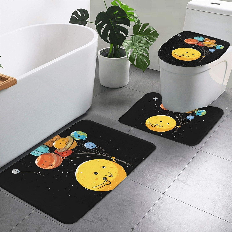 Cute Planet 3-Piece Bathroom Mesa Mall Non-Slip Flo Special sale item Mat Rectangular Floor
