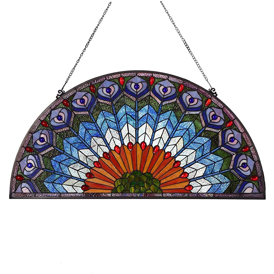 Bieye W10034 36 inches Peacock Tiffany Style Stained Glass Window Panel with Hanging Chain