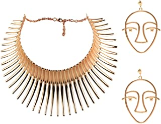 Mrotrida Women's Big African Necklace Indian Style Bending Alloy Big Thorn Statement Collar Choker and Face Earrings Set