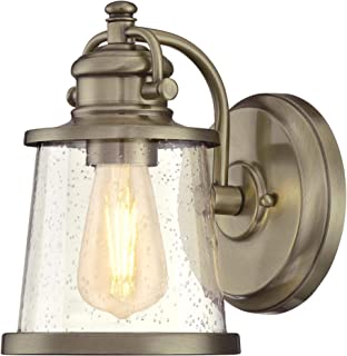 Westinghouse Lighting 6374500 Emma Jane One-Light Outdoor Wall Lantern, Antique Brass Finish with Clear Seeded Glass Porch Light