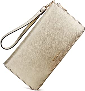 Contacts Genuine Leather Womens Card Coin Clutch Purse Zipper Long Wallet