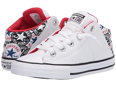 Converse Kids Chuck Taylor(r) All Star(r) Axel All Over Patch (Little Kid/Big Kid) (White/University Red/Rush Blue) Boy