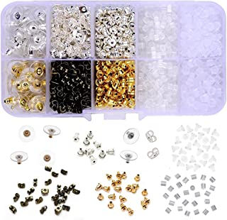 Supla 10 Styles Earring Back Clips Bullet Shape Earring Backs Butterfly Metal Rubber Plastic Secure Earring Backs for Safety, 1040 Pieces