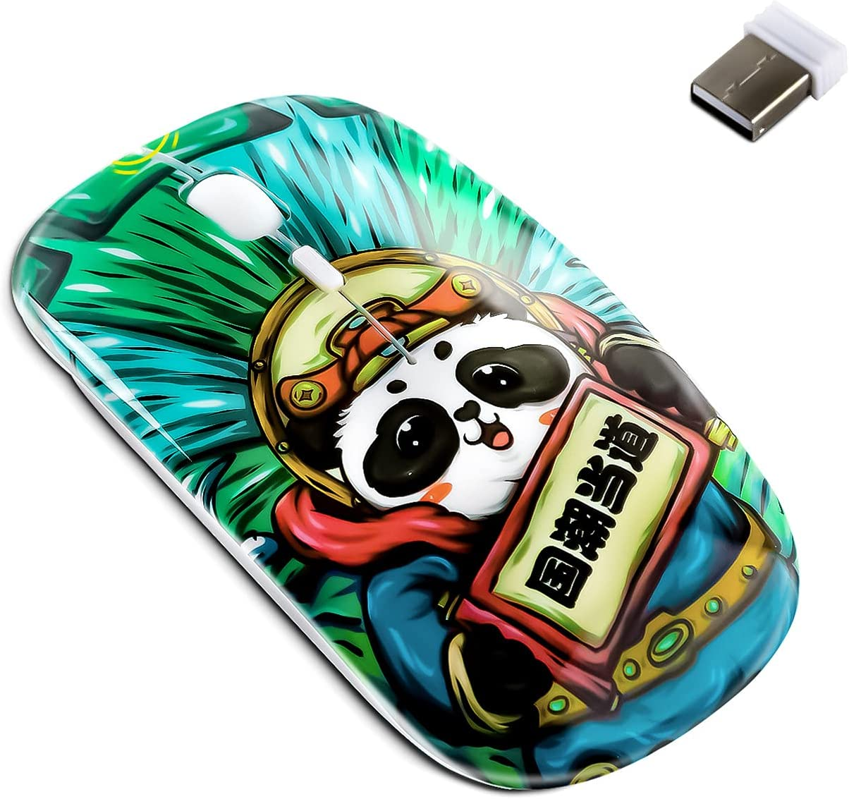 3C Light Cute Panda Shape USB Wired Mouse Novelty Portable Computer Mouse Animal Small Optical Mice Desktop Mouse 1600 DPI 3 Buttons for Women Kids Girls (Green)
