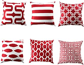 Topfinel Square Decorative Cushion Covers Soft Microfiber Outdoor Throw Pillow Cases 18 X 18 for Sofa Bedroom, Set of 6, B...