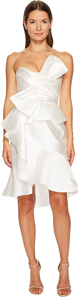 Strapless Mikado Cocktail Bow Dress