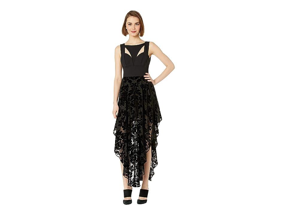 Bebe Contrast Cut Out Burnout Dress (Jet Black) Women