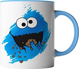 vanVerden vanVerden Tasse - Cookie Monster Keks-Monster - Kinder Comic TV Serie Karneval Fasching - beidseitig Bedruckt - Geschenk Idee Kaffeetassen Spruch, Tassenfarbe:Weiß/Blau