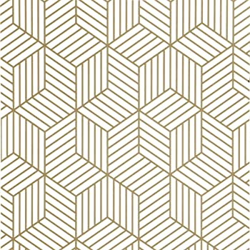 Gold And White Geometric Hexagon Peel And Stick Wallpaper 17 7 X 78 7 Gold Striped Wall Paper Decorative Removable Self Adhesive Wallpaper Golden Vinyl Film Wall Covering Roll Drawer Liner Use Amazon Com