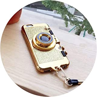 Sparkle Camera Mirror Stand Necklace Case for iPhone Xs Max XR X 10 8 7 6 6s Plus 7Plus 8Plus Bling Glitter Phone Cases Coque,Gold,for 6Plus 6sPlus