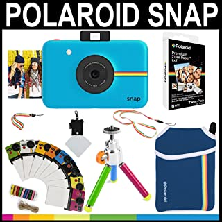 Polaroid - Cámara instantánea Snap (Azul) + Papel Zink 2x3 (paqute de 20) + Funda de Neopreno + Marcos para Fotos + Set de Accesorios