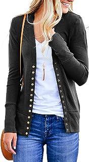 NENONA Women`s V-Neck Button Down Knitwear Long Sleeve Soft Basic Knit Cardigan Sweater