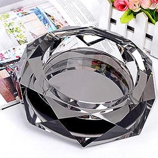 GAOTING Ashtray/home ashtray, octagonal transparent crystal 18cm (Color : Black)