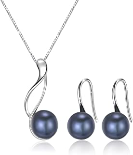 Sterling Silver Freshwater Cultured Pearl Jewelry Necklace Earrings Set for Women (White Pearl Or Black Pearl)