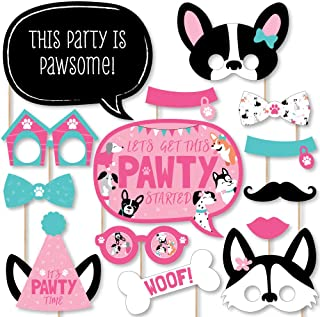 efe9bff943 Big Dot of Happiness Pawty Like a Puppy Girl - Pink Dog Baby Shower or  Birthday