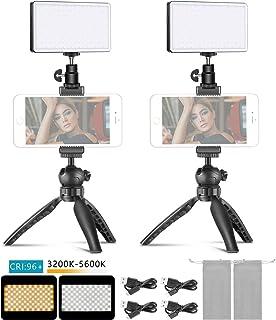 Neewer 2-Pack Metal LED Video Light Mobile Phone Stand Desktop Set: 3200-5600K/Dimmable Brightness/CRI96+/Built-in 4500mAh...