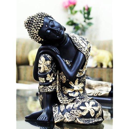 CraftJunction Black Golden Thinking Lord Buddha Showpiece(15 x 13 x 26 cm)