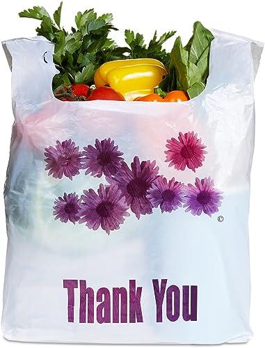Purple Flower Thank You Plastic Heavy Duty Shopping Bags - 500 pcs/case