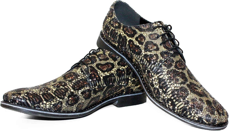 Modello Spacenno Handgjort Italienska läderMens Färgfulla Oxfords Klädskor Klädskor Klädskor Cowhide Embrossed Leather Lace -Up  100% helt ny med originalkvalitet
