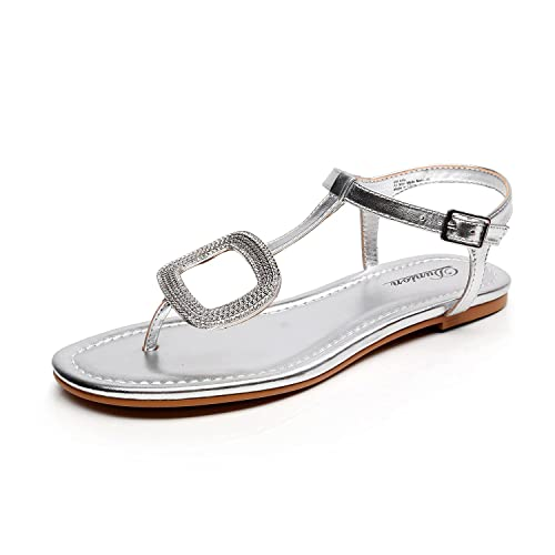 3230640811e5 DUNION Women s Abrief Rhinestones Strappy Gold Flat Sandal Summer Silver  Prom Wedding Shoes