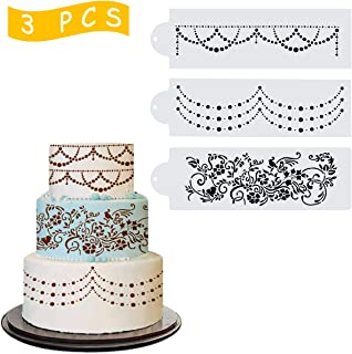 Wedding Cake Stencil Template, Kissbuty 3 Pcs Cake Decorating Embossing Plastic Spray Floral Cake Cookie Fondant Side Baking Mesh Stencil Mat Wedding Decor Tools (Floral Vine)