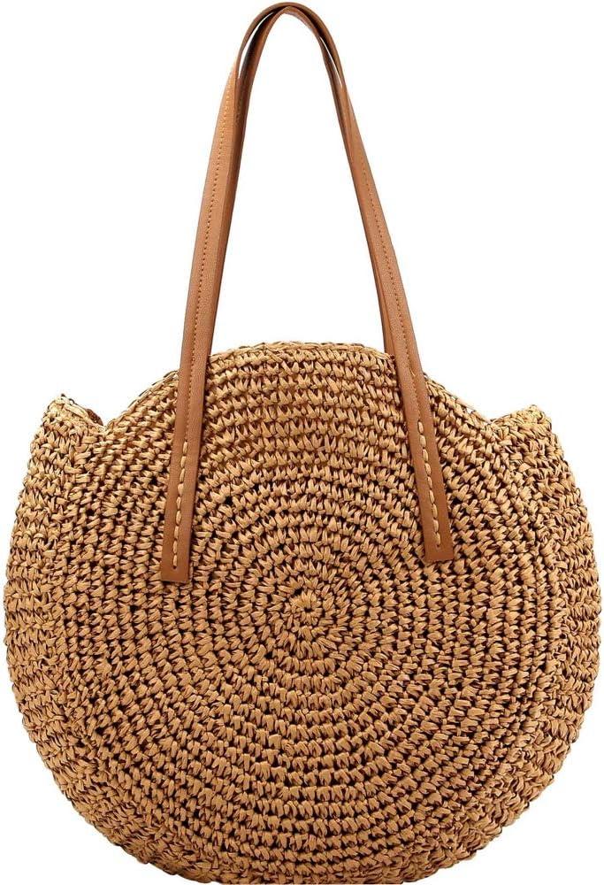 Knitted Crochet Straw Large Round Tote Hobo Summer Beach Bali Boho Purse Handbag (Round Circle Tote - Brown)