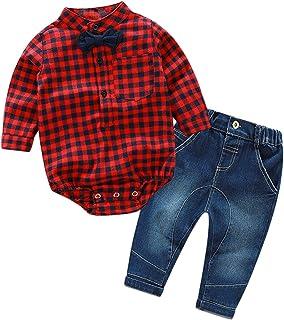 f1a212daebc24 CHIC-CHIC Ensemble Garçon Bébé 2pc Combinaison Chemise Carreau + Pantalons  Jeans Pull Longues Manches