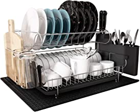 Dish Drying Rack, MAJALiS Large Stainless Steel 2 Tier Dish Rack with Drainboard Set for Kitchen Counter, Fully Size Kitch...