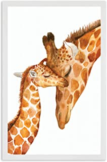 Nursery Decor - Safari Giraffe Bedroom Wall Art Decor for Nursery | Decorative & Easy to Frame Printed Picture 11x17-inch | 1 - (UNFRAMED) Print | Nursery Sweet Giraffe Baby and Mom for Nursery