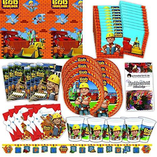 Procos Bob der Baumeister Party Set XL 57-teilig für 6 Gäste Bobparty Geburtstag Deko Partypaket