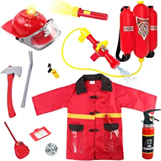 Liberty Imports Kids 10 Piece Fireman Gear Firefighter Costume Role Play Dress Up Toy Set with Helmet and Accessories (Deluxe)