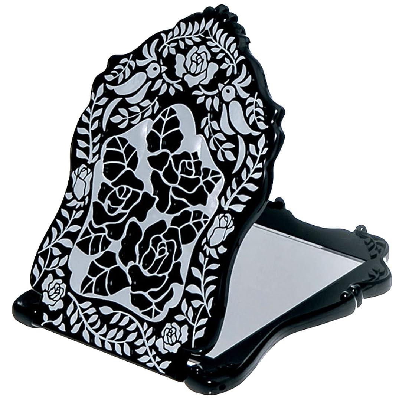 ジェーンオースティン血ニッケル(アナスイ) ANNA SUI ビューティ ミラー N 鏡 コンパクト ビューティー 黒 ブラック ロゴ ローズ 薔薇 バラ