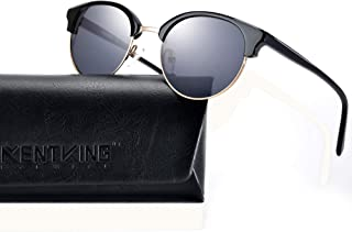 Half Frame Sunglasses, Vintage Round Semi-Rimless Scratch...