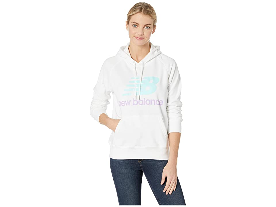 New Balance Essentials Pullover Hoodie (White/Light Reef/Dark Violet Glo) Women