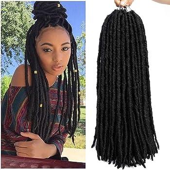"6packs Straight Faux Locs Crochet Twist Hair Braids Synthetic Hair Extensions Faux locs Kanekalon Fiber Braiding Hair Afro Kinky Soft Dread Dreadlocks 18 Strands (18"" (6-Packs), 1B)"