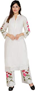KAKAJI Woman's Latest Embroidered Cotton Straight Stitched Kurta with Palazzo Bottom Set(Off White) (Size S,M,L,XL)