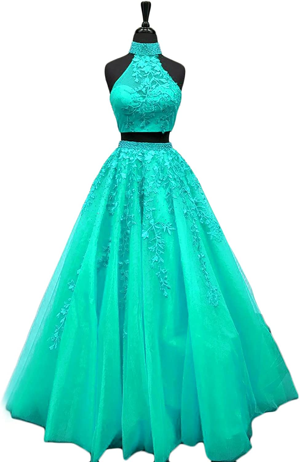 YSMei Women's Halter Beaded Prom Homecoming Dresses Two Pieces Long Party Gowns PM063