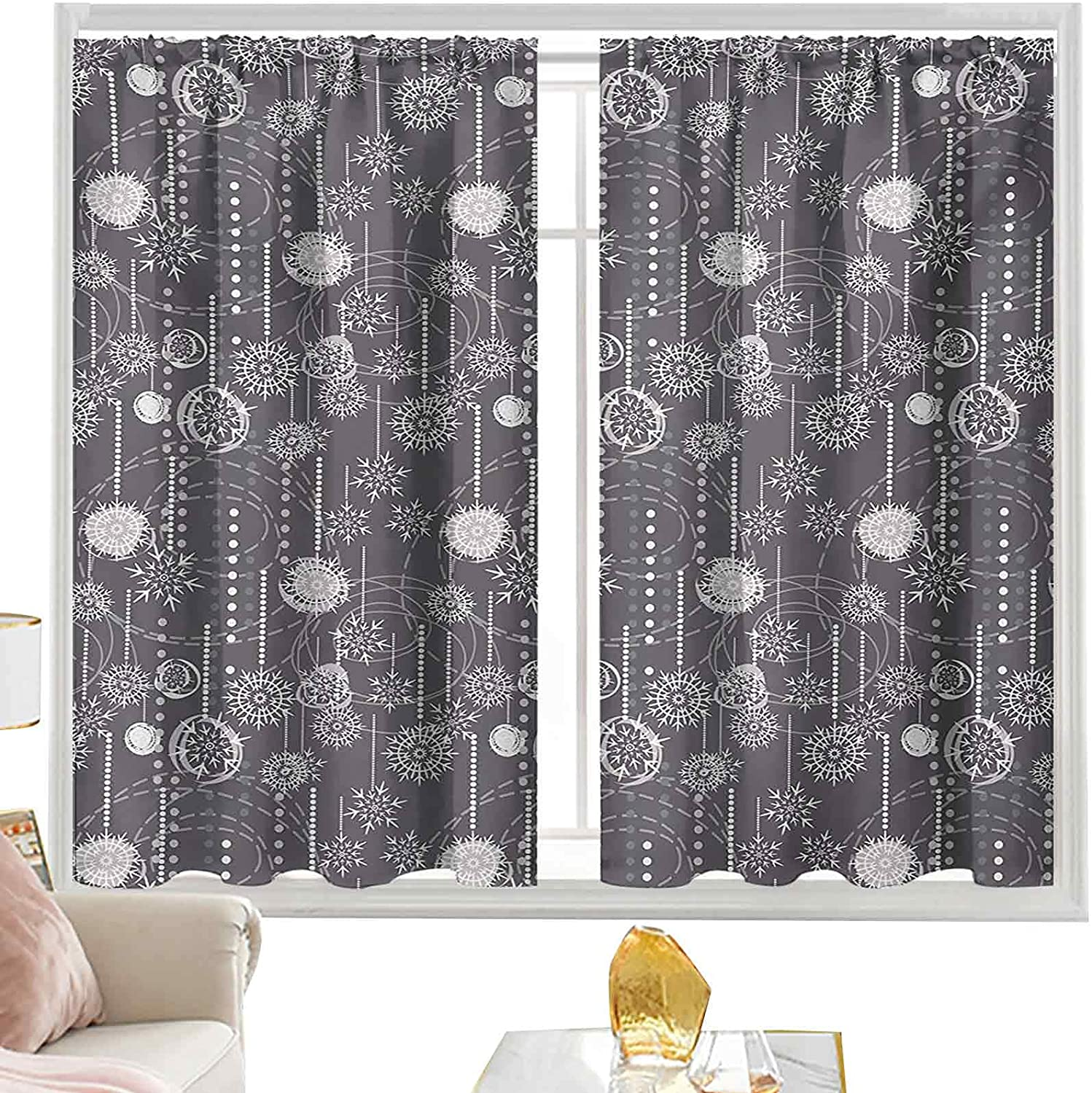 Great interest Max 53% OFF Pocket Rod Curtains Monochrome with Composition Figure Blizzard