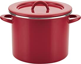 Rachael Ray 47626 Create Delicious Stock Pot/Stockpot with Lid - 12 Quart, Red