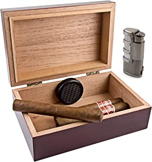 Scorch Torch Travel 10 Cedar Wood Cigar Humidor Humidifier & Dominator Triple Jet Flame Butane Torch Lighter Combo Set with Punch Cutter Tool