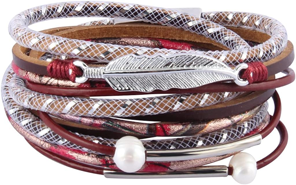 COOLLA Tampa Mall Women's Leather Bracelet Feather Pea - Wrap Ranking TOP18