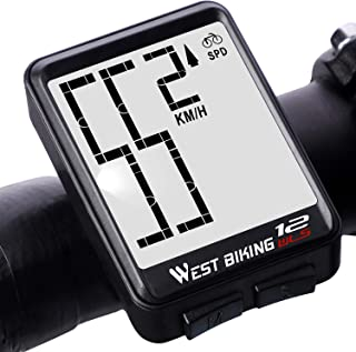 Bicycle Computer Wireless Speedometer, Big Number Display Waterproof Automatic Wake-up Stopwatch with LCD Backlight, Speed Distance Time Measure Temperature Consumption Cycling Accessories