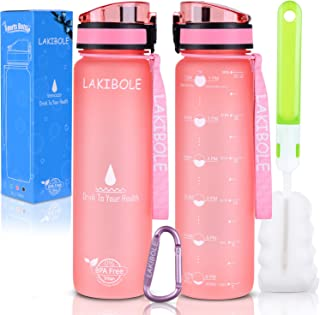 LAKIBOLE 32 oz Water Bottle BPA Free with Time Markers, Tritan Gym Water Bottle for Fitness, Outdoor Enthusiasts, Leakproof & Durable