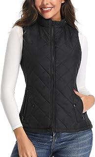 Women's Vest - Stand Collar Lightweight Zip Quilted Vest...