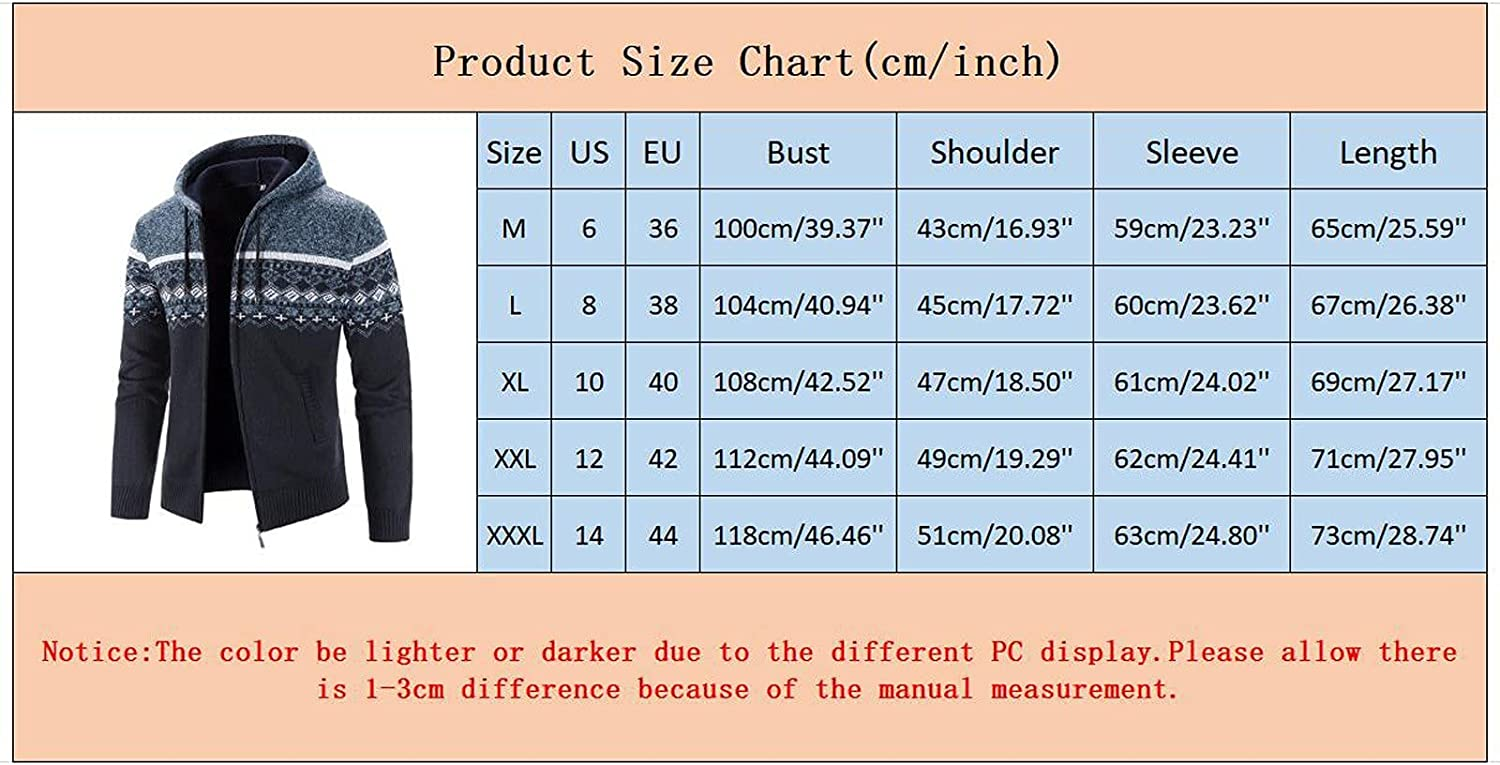 XXBR Sweater Cardigan Jackets for Mens, Fall Winter Zipper Plaid Hooded Coat Checked Patchwork Warm Slim Casual Jackets