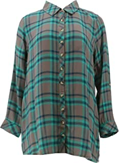 Tolani Collection Long-Sleeve Button Front Plaid Tunic Red Black L NEW A345937