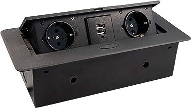 JUVA Inbouwcontactdoos keuken & bureau - combi-box DL10007   Dubbele wandcontactdoos 2 x Schuco-stekker + 2-voudige USB   ...